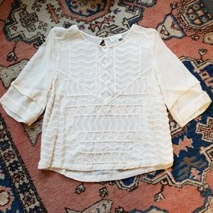 Lucky Brand Sheer Embroidered Lace Top Size S